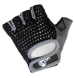 49N 49n Peloton Mens Gloves Black Crochet Short Fingers