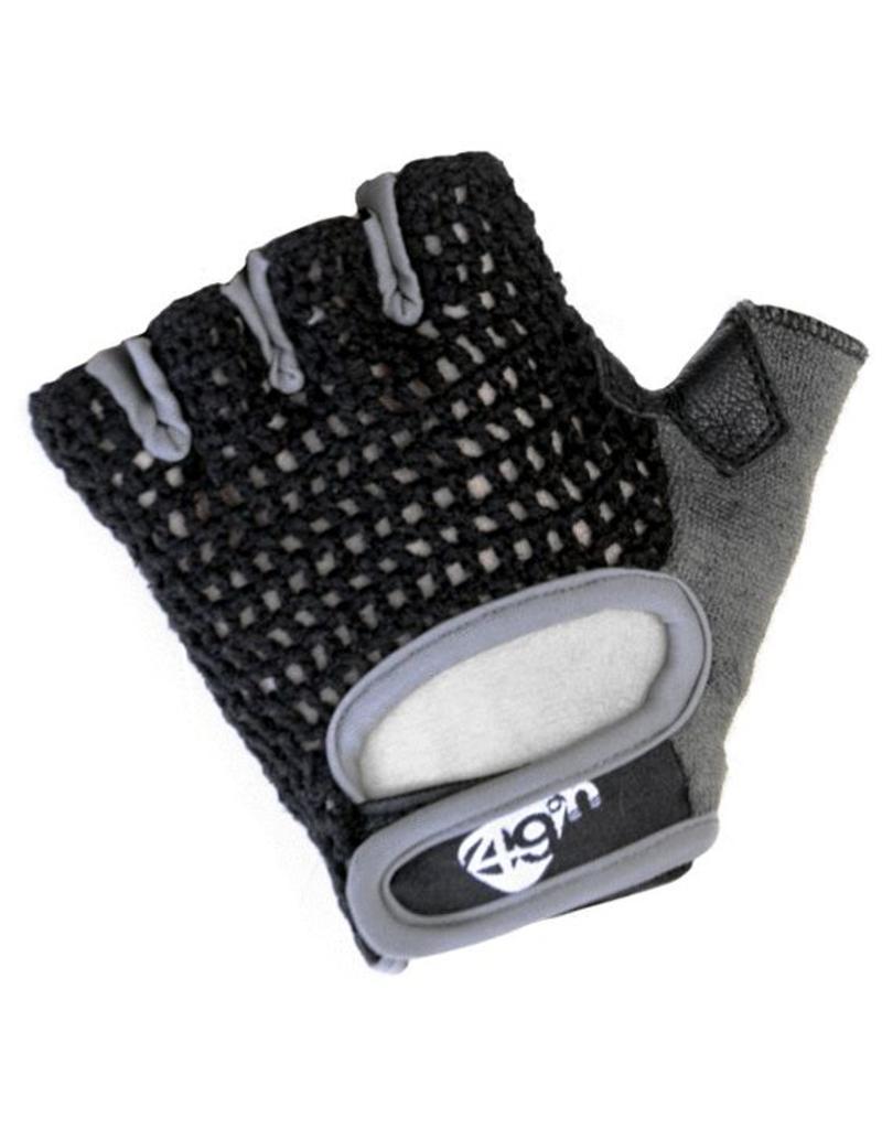 49N 49n Peloton Mens Gloves Black Crochet Short Fingers