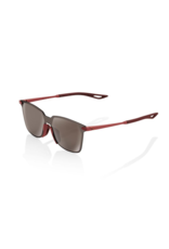 100% Legere UltraCarbon Square Sunglasses, Soft Tact Crimson frame - HiPER Silver Mirror Lens