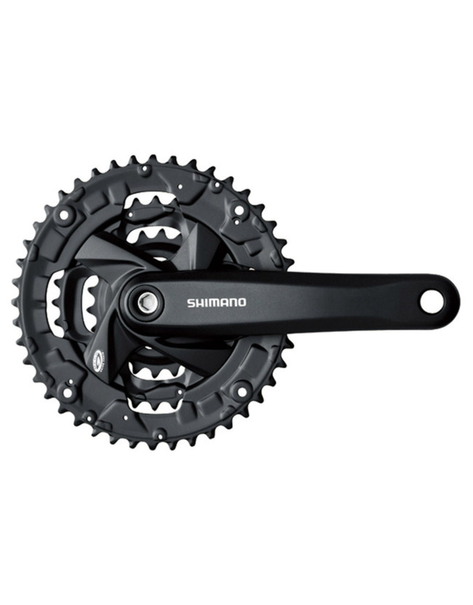 SHIMANO Shimano Front Chainwheel, FC-M371-L, For Rear 9-Speed, 170mm, 48x36x26t W/Chain Guard(Integrated Type), Chain Case Compatible, Black W/Fixing Bolt, Shimano Logo