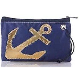 Sea Bag Gold Anchor on Navy Wristlet
