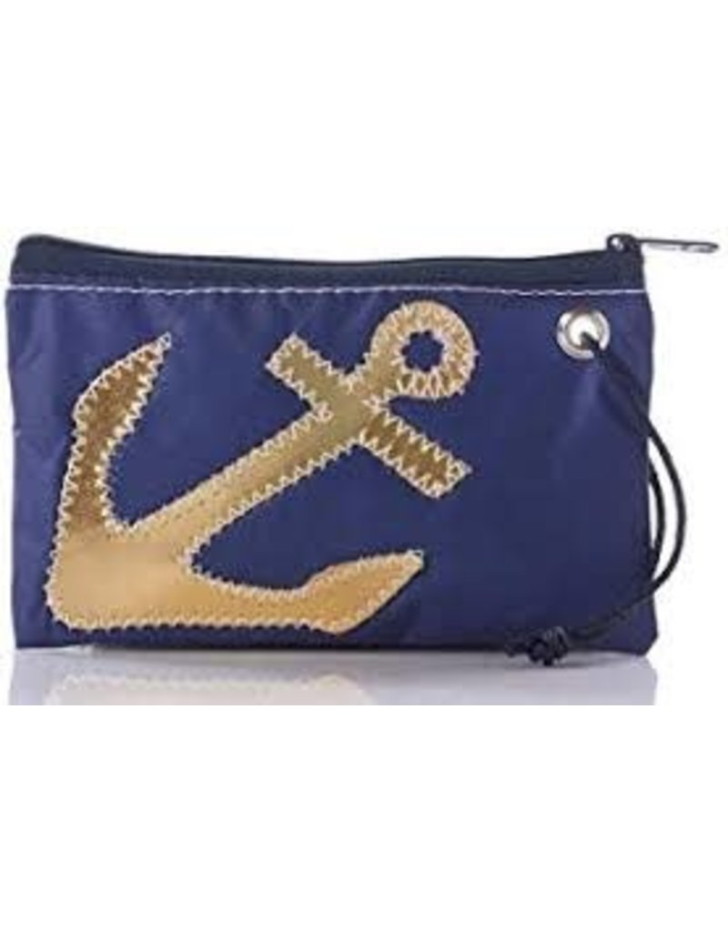 Sea Bag Sea Bag Gold Anchor on Navy Wristlet