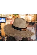 Love Big Fringe Straw Hat -  Black / Tan