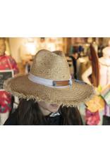 Love Big Fringe Straw Hat - White / Luggage