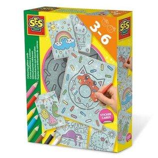 SES Cartes paillettes a colorier