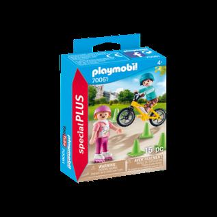 Playmobil Enfants avec velo et rollers 70061