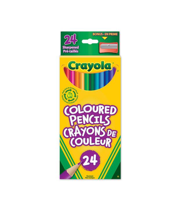 24 Crayons de couleur en bois + aiguisoire