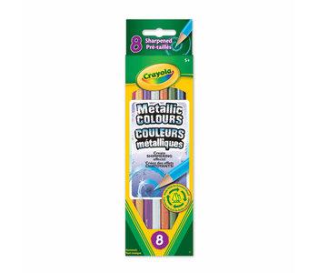 8 Crayons bois metalliques