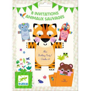 DJECO 8 invitations Animaux sauvages