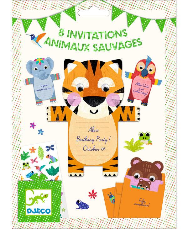 8 invitation card Wild animals