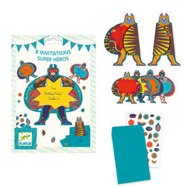 DJECO 8 Invitation Cards - Superheros