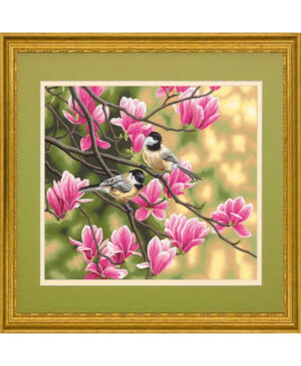 Mésanges et magnolias