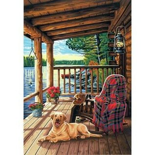 Paintworks Porche de cabane en bois rond
