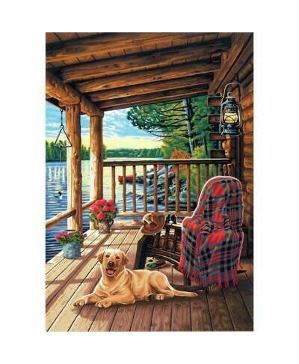 Porche de cabane en bois rond