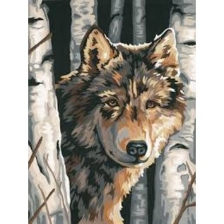 Paintworks Loup et bouleaux