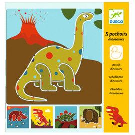 DJECO 5 Pochoirs Dinosaures