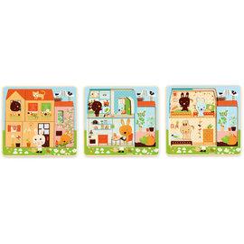 DJECO Puzzle 3 niveaux  Chez-carot - 12pcs