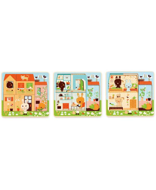 Puzzle 3 niveaux  Chez-carot - 12pcs