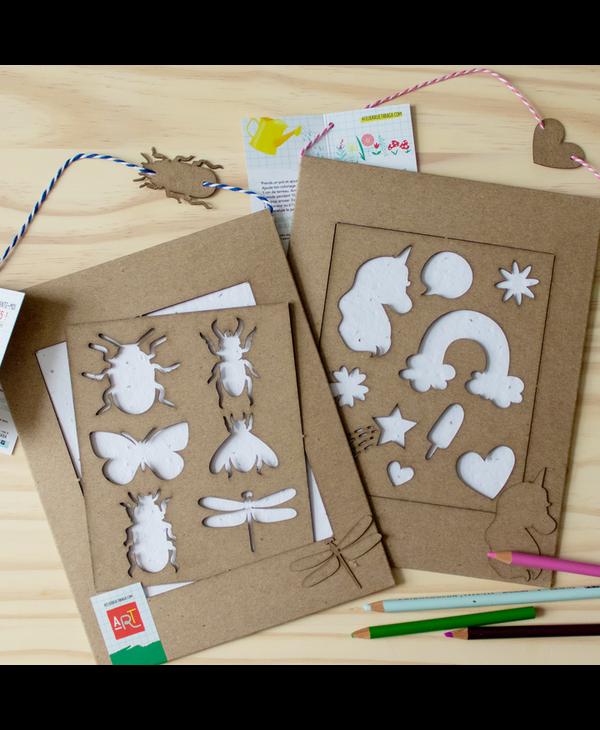 Seed paper + Unicorn stencil