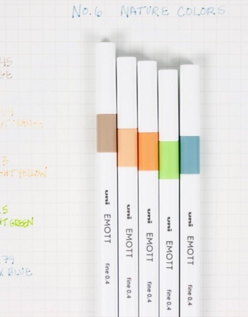 Uni UNI EMOTT Fine Line Pen 5 Pcs