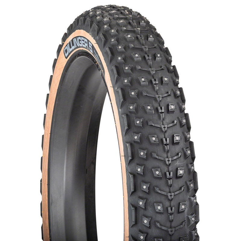 45NRTH 45NRTH Dillinger 5 Tire - 27.5 x 4.5, Tubeless, Folding, Tan, 60tpi, 252 Concave Carbide Aluminum Studs