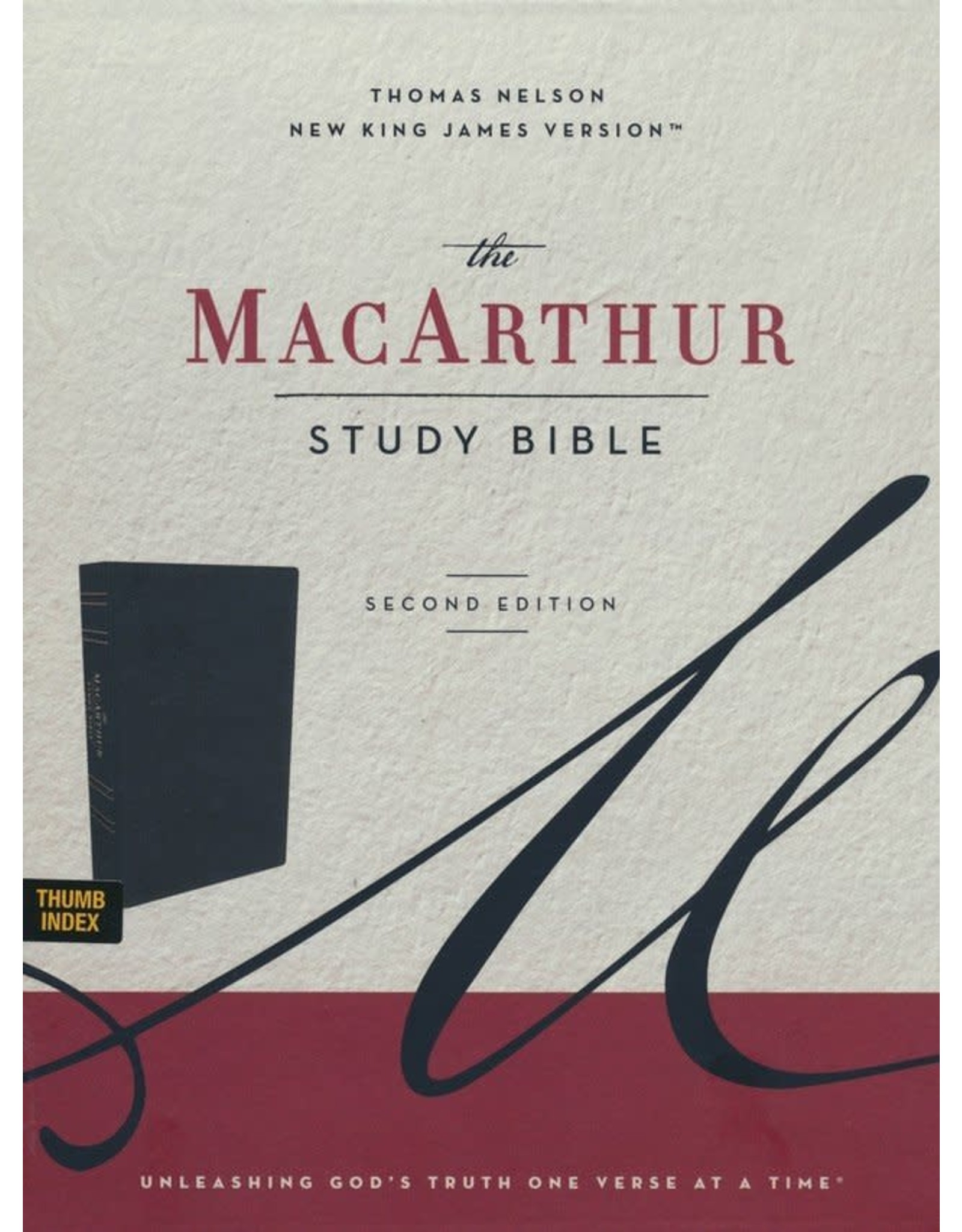 Harper Collins / Thomas Nelson / Zondervan NKJV MacArthur Study Bible, 2nd Edition, Leathersoft, Black, Thumb-Indexed