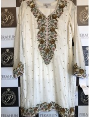 Kiran Haq WHITE COTTON NET FORMAL