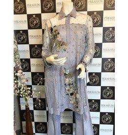 Kiran Haq LAVENDER NET FLOWERS & PEARLS