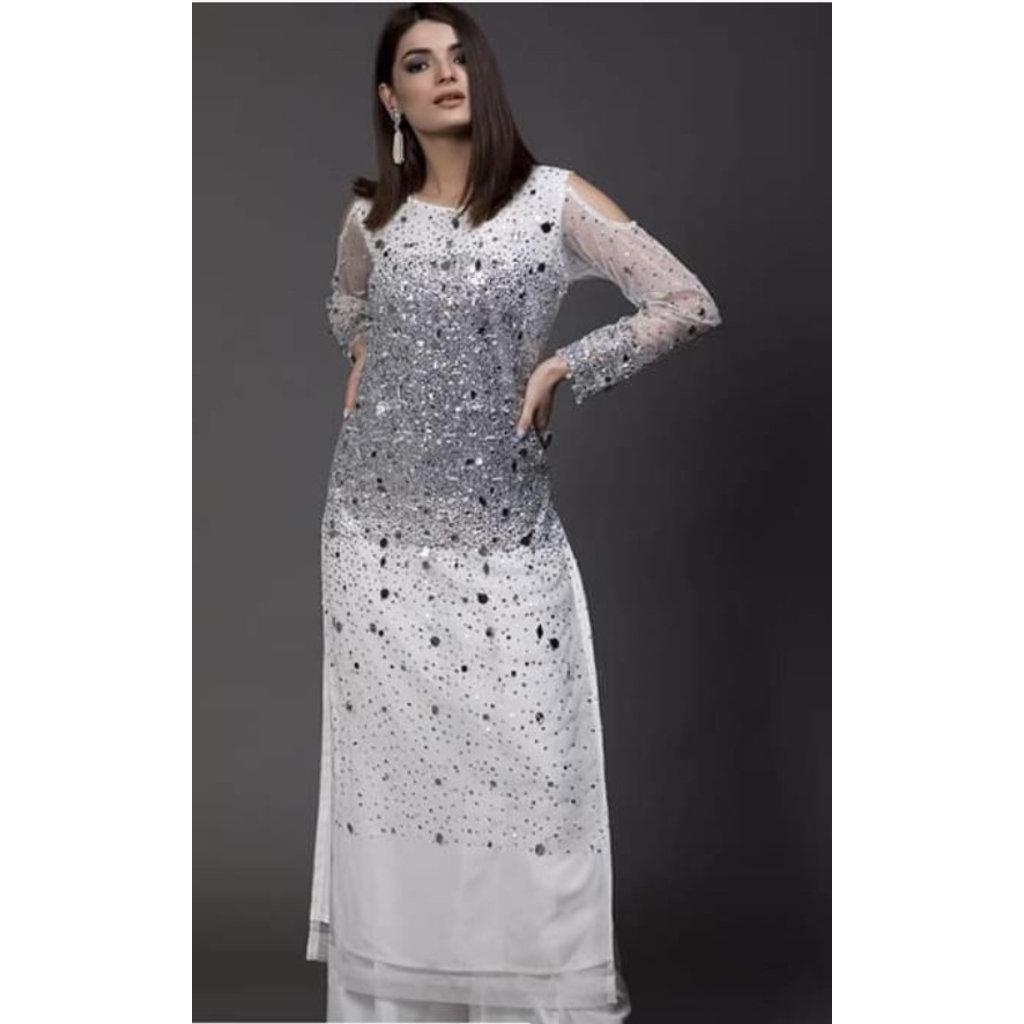 Kiran Haq White net sequins