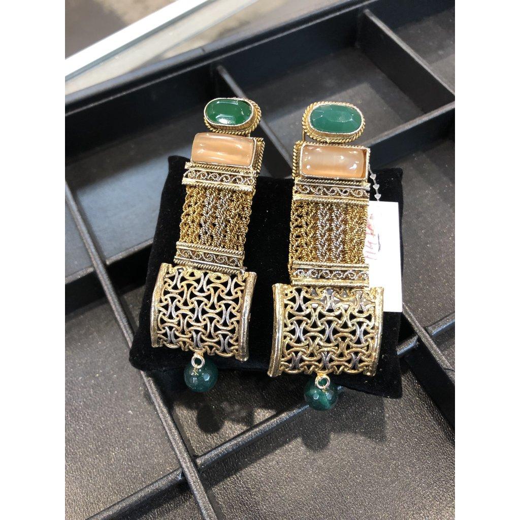 Perahun Gold and Green Dangling earings- 114707