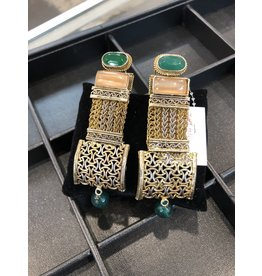 Perahun Gold and Green Dangling earings- 114707