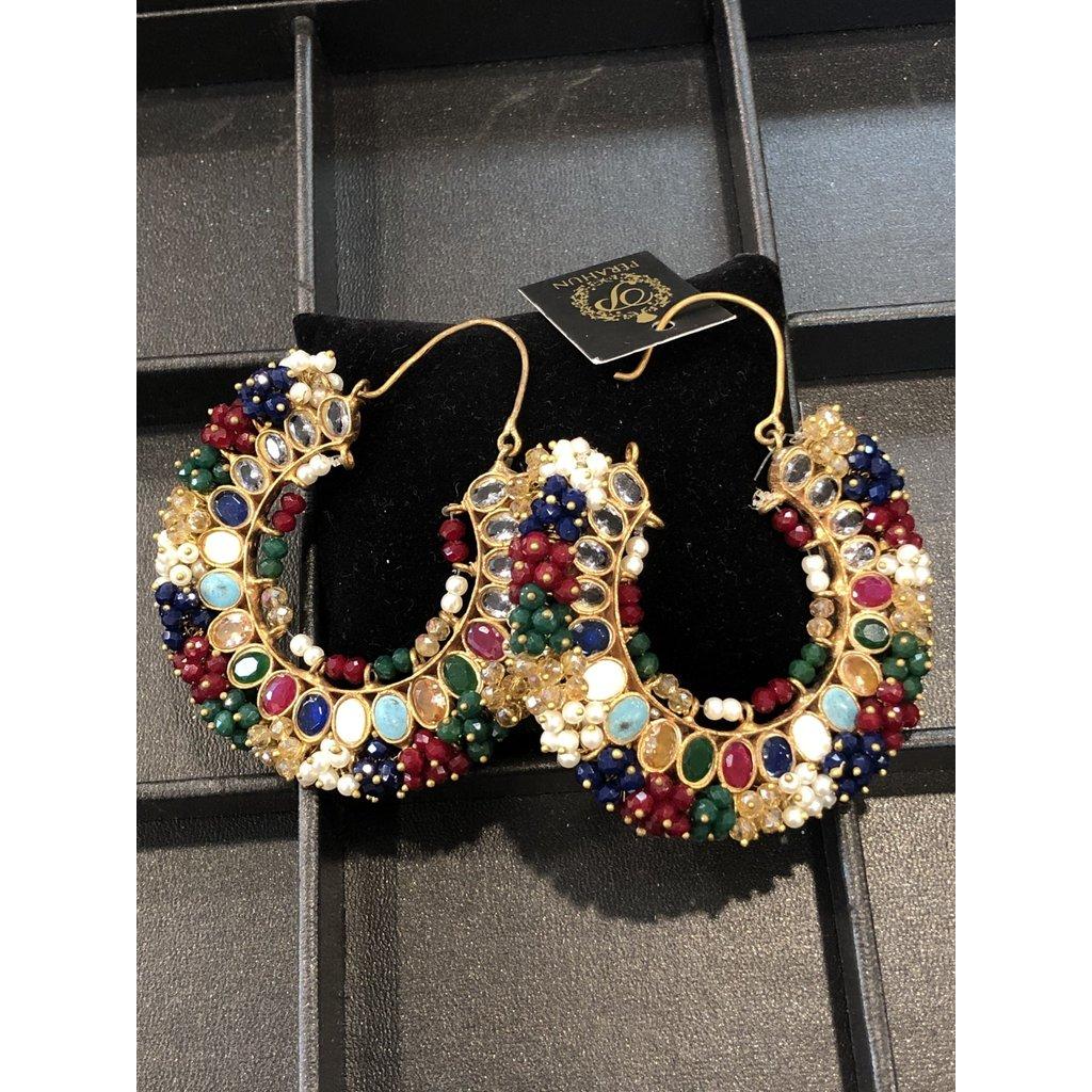 Perahun Gold Colorful Earings Round- 725209