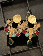 Perahun Colourful Earings with Coin- 23162012