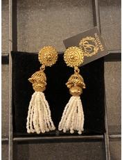 Perahun Gold with white bead dangling earing- 210009