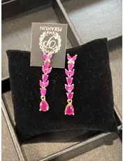 Perahun Purple with gold danling earing- 37007
