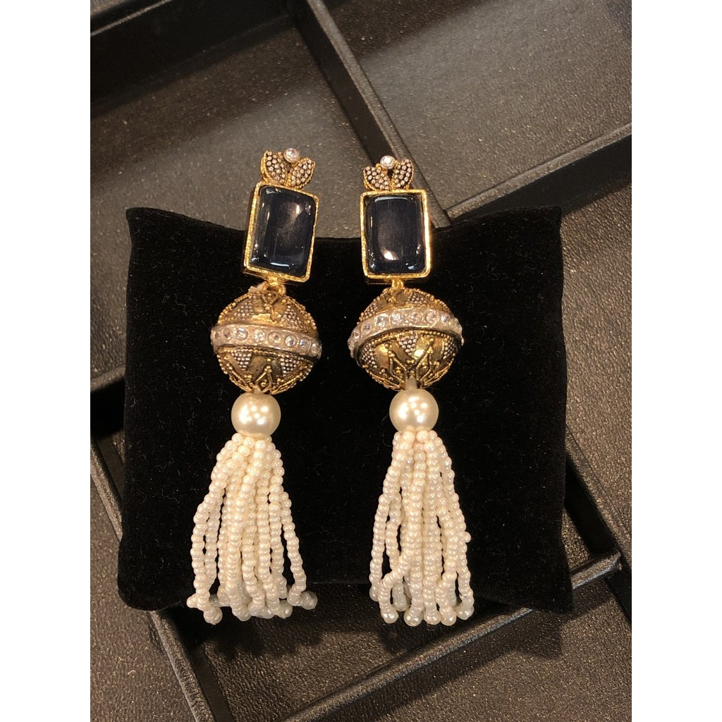 Perahun Gold and Blue, white bead dangling- 123001