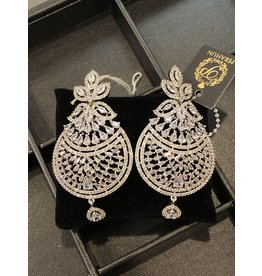 Perahun Silver long Dangling earings- 735007