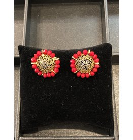 Perahun Gold with red stud earings- 35507