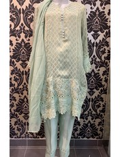 Kiran Haq Pista cotton net zari-KH61