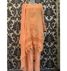 Kiran Haq Coral Cotton net zari-KH62