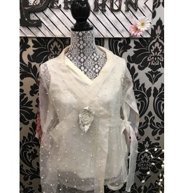 Agha Noor Off white organza wrap style top Size Medium