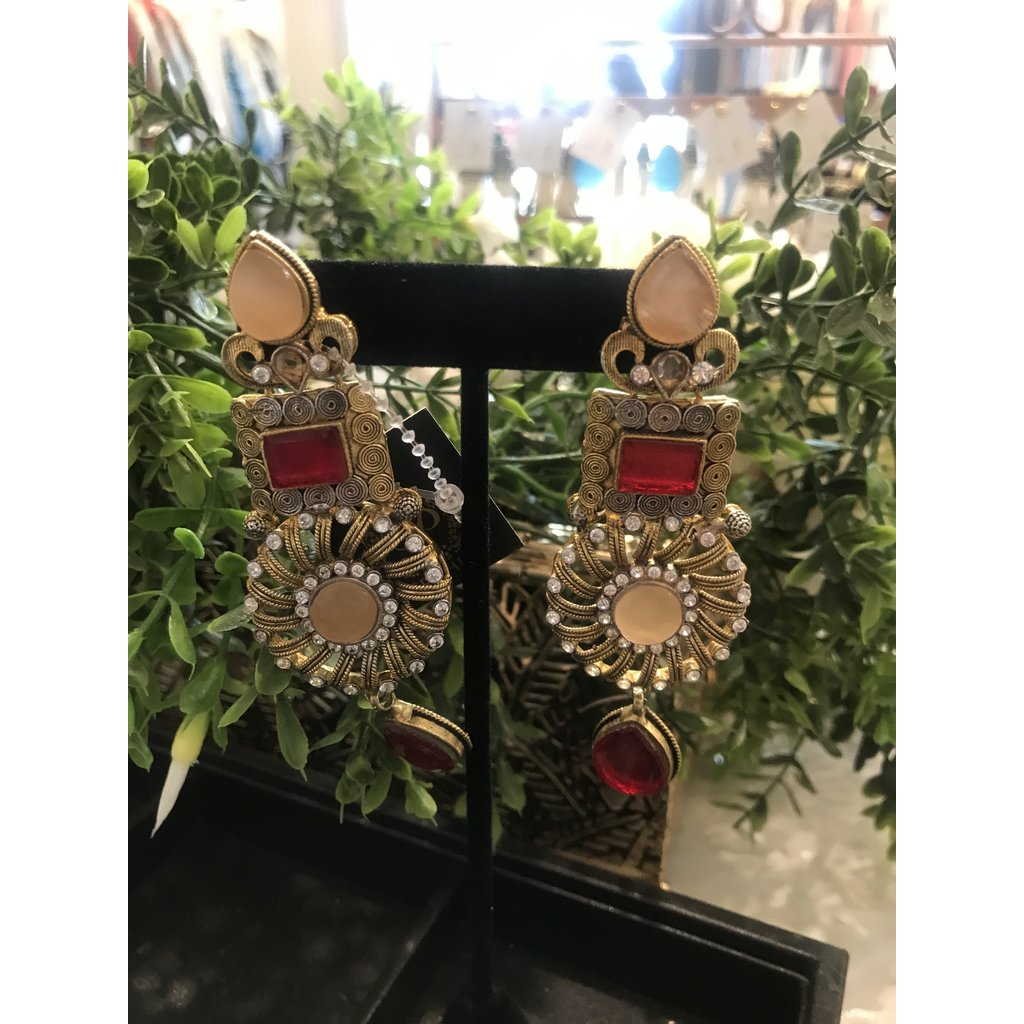 Perahun Gold with red Earings- 784007