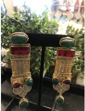 Perahun Gold with Red green Dangling earings-74550