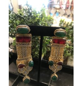 Perahun Gold with Red green Dangling earings-74550