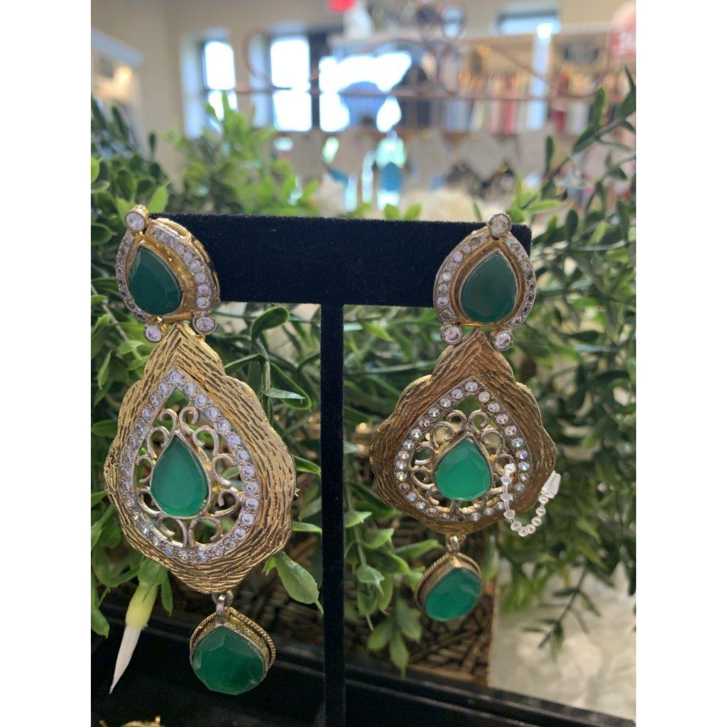 Perahun Emerald long earrings-635004