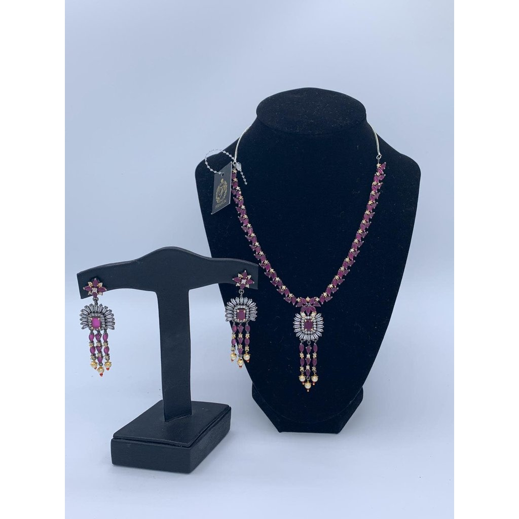 Perahun Purple with silver stone necklace set-23320012