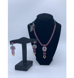 Perahun Purple with silver stone necklace set-23320012