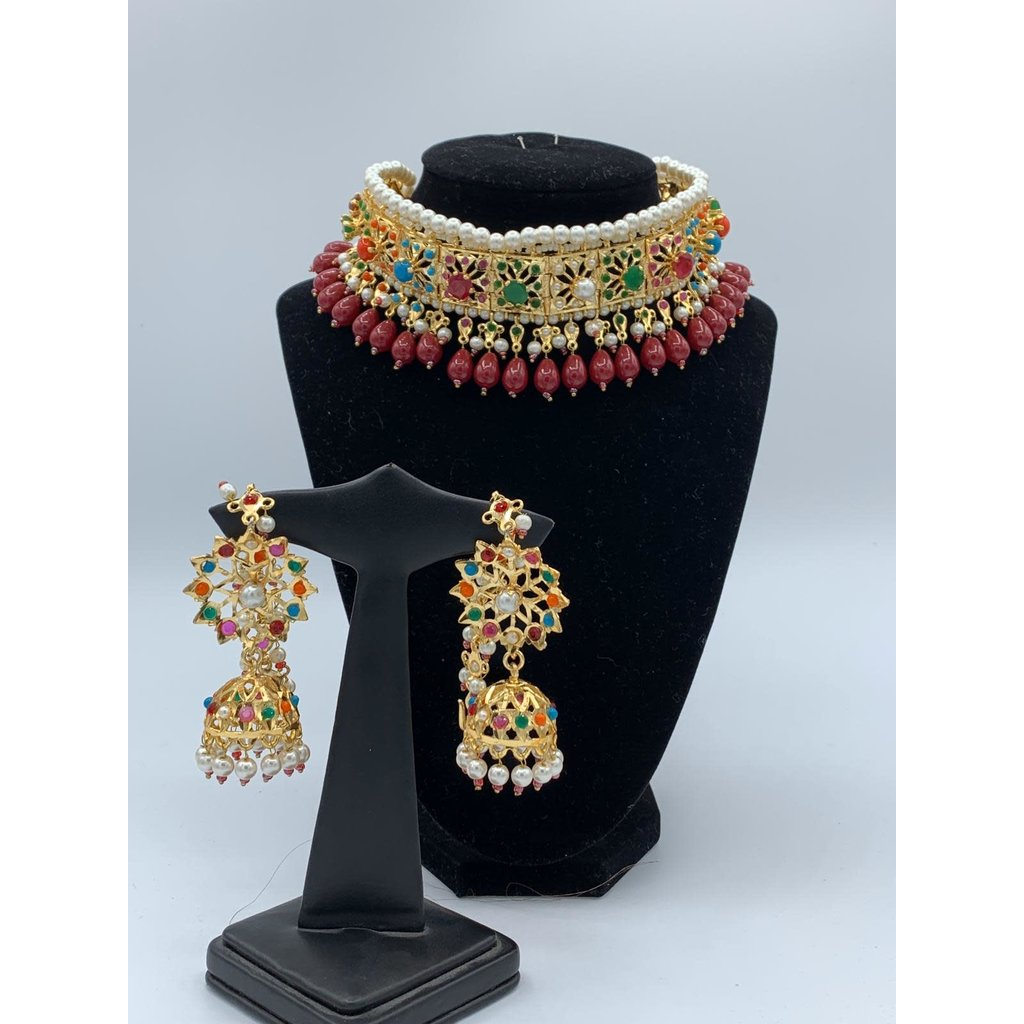 Perahun Hyderabadi square ruby choker set -PRB12