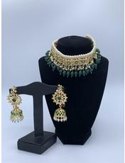 Perahun Hyderabadi emerald flower jaraweelacha set- PRB05