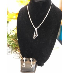 Perahun Black and silver necklace set 23270012